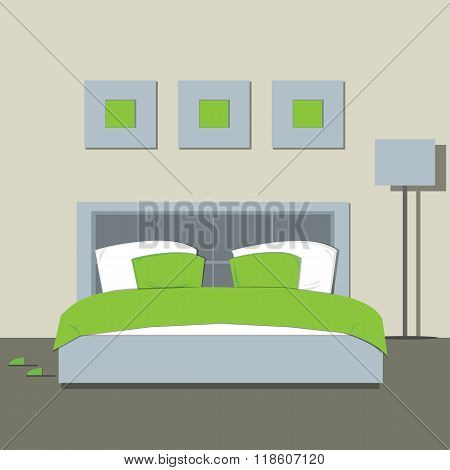 Bedroom Interior. Room Interior With Furniture. Flat Style Vector Illustration.