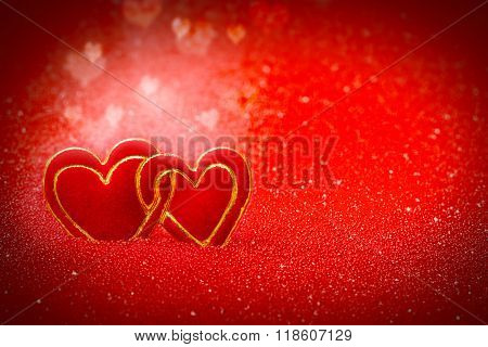 Hearts, Red Background For Valentine's Day
