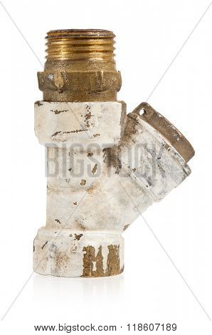 Old fittings for pipes - isolated on a white background