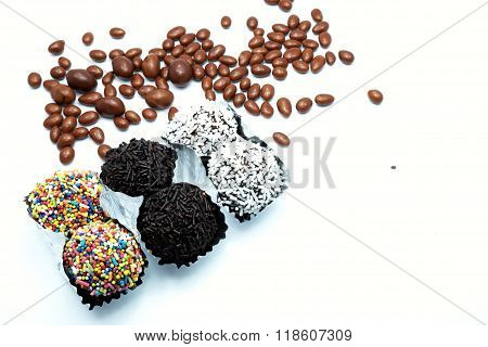 Chocolate ball/candies collection with colorful sprinkles, jimmies for cake decoration or ice cream