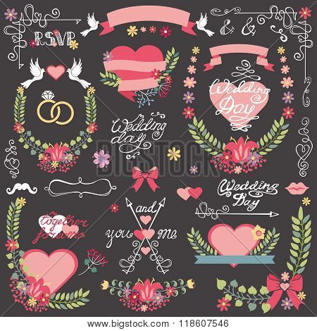Wedding  invitation floral  Decor toolkit .Wreath,heart,headline