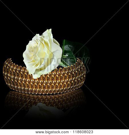 Gold Bangle And White Rose On The Black Background
