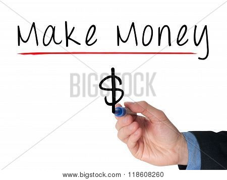 Businessman Hand Writing Make Money On Virtual Screens