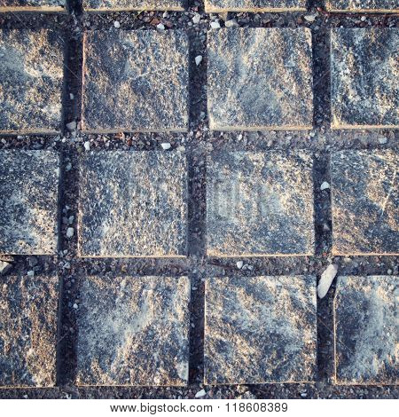 Typical Pavement. Stone Roadway. Square Pattern.