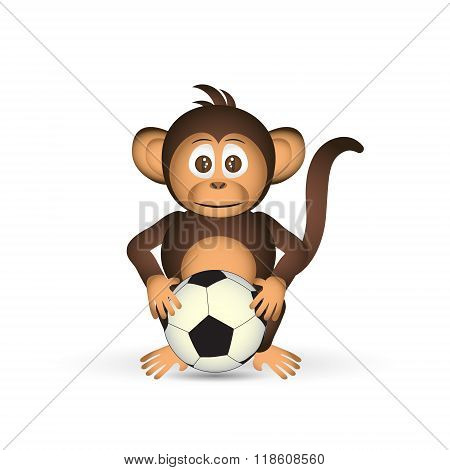 Cute Chimpanzee Holding Football Ball Sport Little Monkey  Eps10