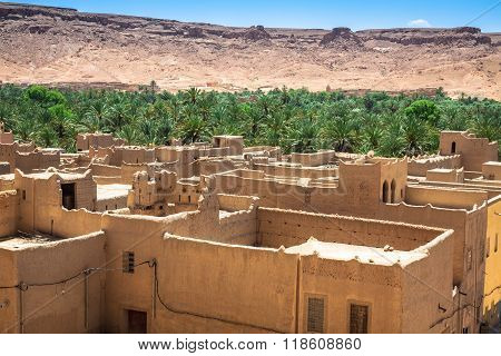 A Village At An Oasis At The Bottom Of A Canyon In The Atlas Mountains, Morocco