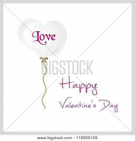White Helium Balloon Heart Shape Valentine Card Eps10