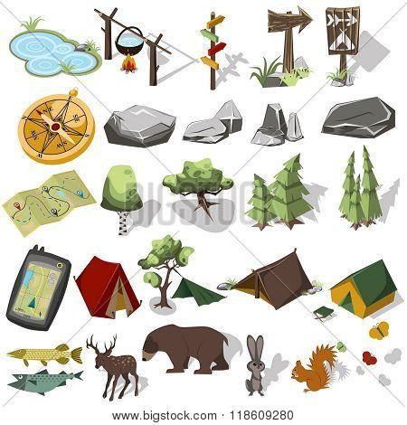 Isometric 3d forest hiking elements