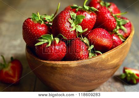 Bowl Of Fresh Organic Strawberry.