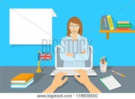Online Internet Language Courses Flat Vector Illustration