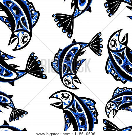 native salmon Vector seamless pattern