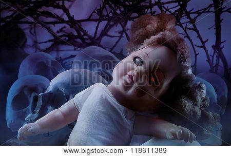 Horror doll with skulls.