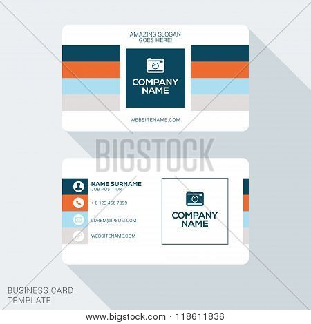 Creative And Clean Corporate Business Card Template. Flat Design Vector Illustration. Stationery Des