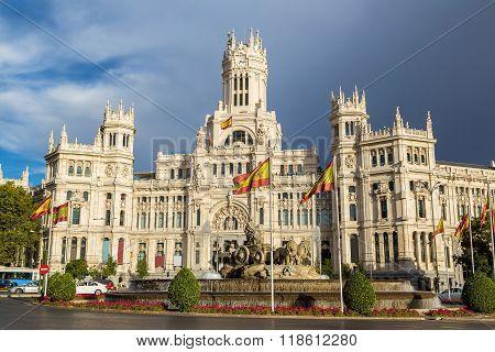 Cibeles Palace And Cibeles Fountain At Plaza De Cibeles In Madrid