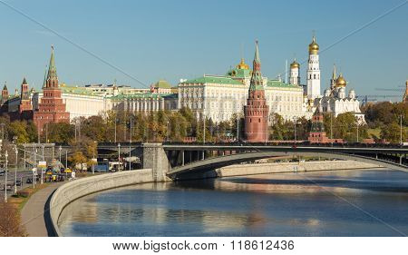Famous Moscow Kremlin and Moskva river