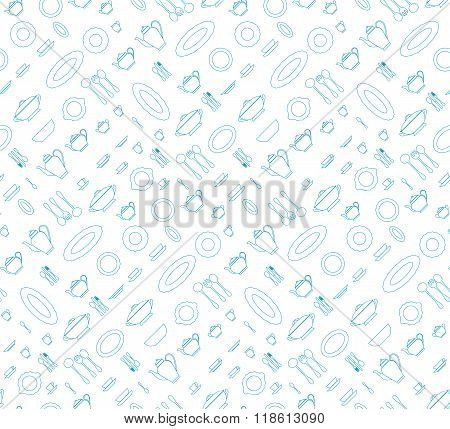 Seamless pattern utensil. Kitchen staff blu color. Vector EPS10.