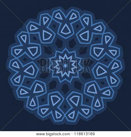 Arabic design - circular border or rounded ornament in shades of blu on dark blu background. Vector
