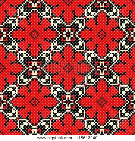Embroidered good like old handmade cross-stitch ethnic Ukraine pattern. Traditional Ukrainian folk art pattern - vyshyvanka called