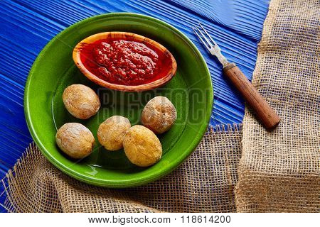 Papas arrugas al mojo wrinkled potatoes Canary islands recipe red spicy sauce