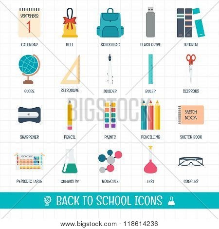 Back To School Icons Set. School And Education Icons. Welcome To School. Flat Design. Vector