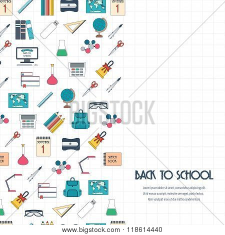 Back To School Concept. Back To School Banner, Background, Poster, Concept With Seamless Border. Fla