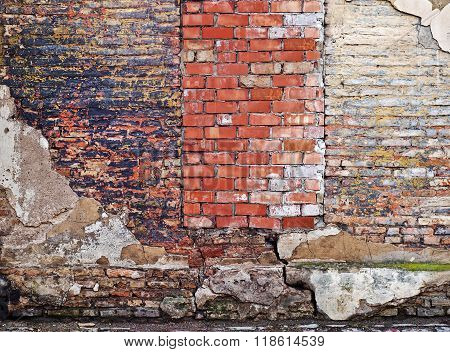 colorful abandoned  brick  wall