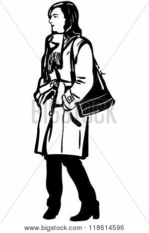 Vector Sketch Of A Girl In A Coat With A Bag On His Shoulder
