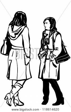 Vector Sketch Of Two Women Friends In Coat Standing Talking