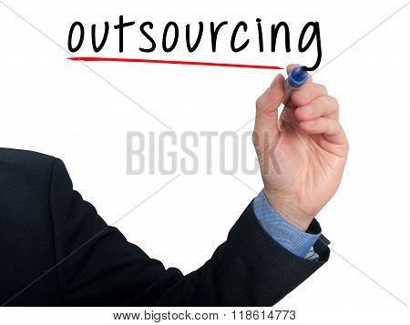 Businessman Hand Writing Outsourcing Isolated On White Background