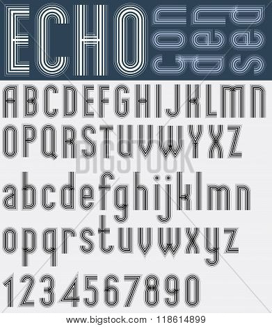 Illusory Condensed Black And White Font And Numbers, Echo Striped Poster Letters.