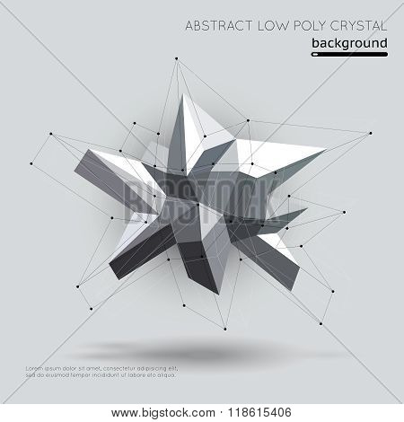 Abstract low poly crystal with connection structure on white background