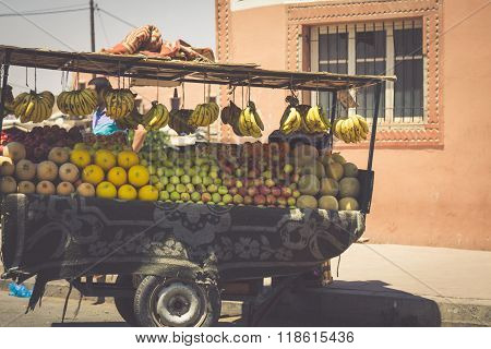 Market Stall With Fruits On The Aa El Fna Square And Market Place In Marrakesh's Medina Quarter In M