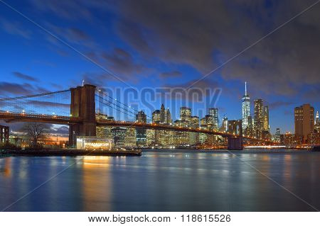 Brooklyn Bridge At Night.