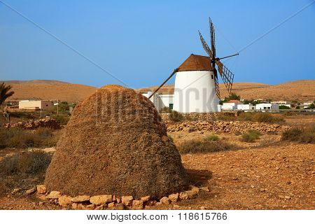 Fuerteventura windmill in Llanos de la Concepcion at Canary Islands of Spain