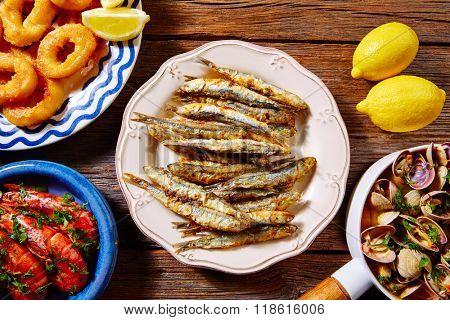 Tapas spanish seafood clams shrimps calamari romana and fried anchovies fish
