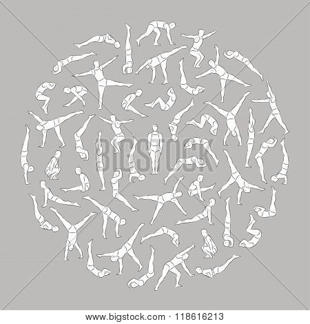 Acrobats in circle 1