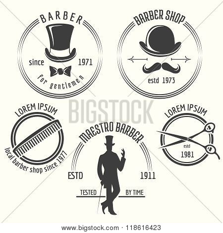 Gentleman barber shop labels