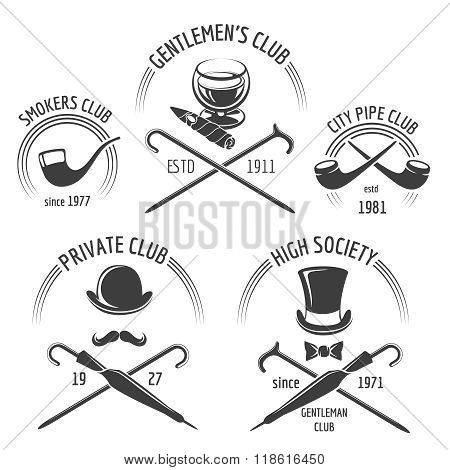 Vintage gentlemen club emblem set