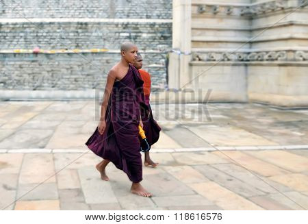 Sri-Lanka Anuradhapura December 30 2015- Buddhist monk near the budda temple (dacoba)