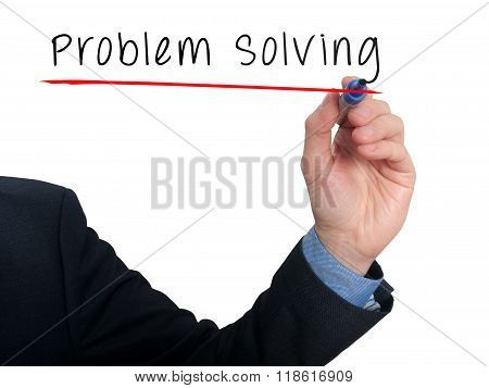 Businessman Is Writing Problem Solving On The Transparent Board