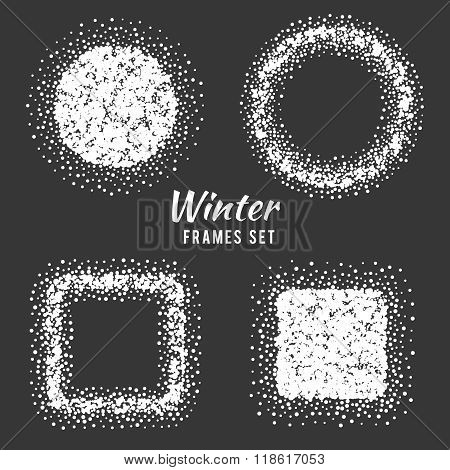 Snow winter frames vector set