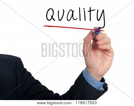 Businessman Hand Writing Quality In The Air