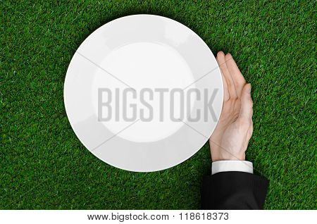 Business Lunch And Fresh Fruit And Vegetables On The Nature Theme: The Human Hand In Black Suit Show