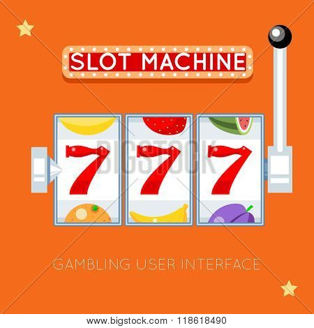 Online slot machine. Vector gambling user interface