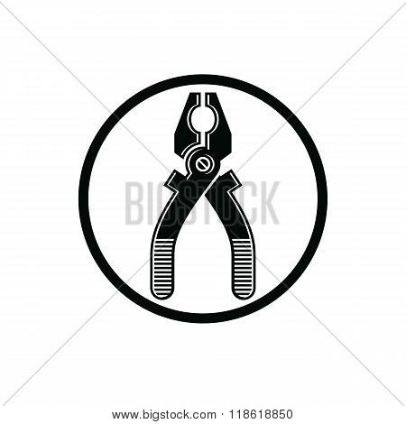 Pliers icon for use in reparation carpentry building. Detailed vector illustration of nippers repair work tool. Industry utensil symbol.