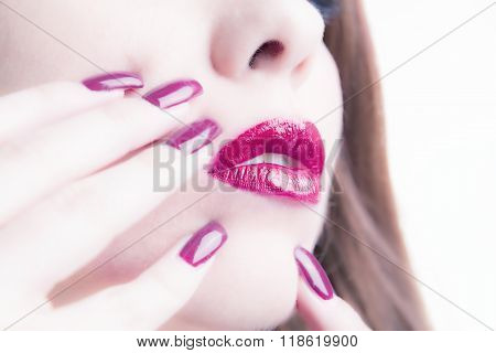 Woman With Shiny Painted Nails
