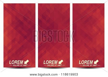 Set of vector flyers. Background with red triangles. Flyer, web, banner, card, vip, certificate, gif