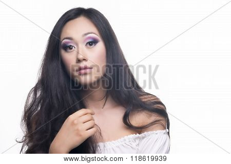Makeup Of A Model With Long Black Hair