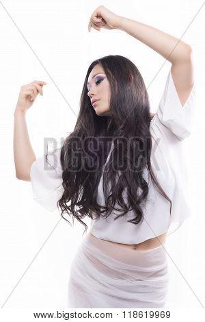 Isolated Brunette Model Dancing