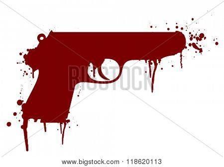 illustration of a handgun with blood splatter, eps10 vector